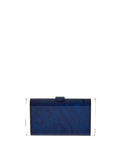 Lara Acrylic Backlit Clutch Bag, Sapphire/Obsidian