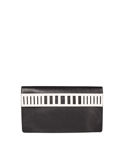 Cutout Collection Clutch Bag, Black/Off White