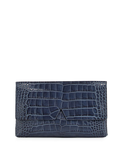 Signature V Crocodile-Embossed Clutch Bag, Coastal