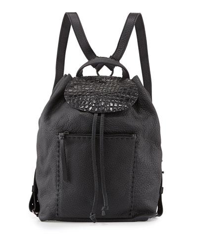 Deerskin Croc-Stamp Backpack, Dark Gray