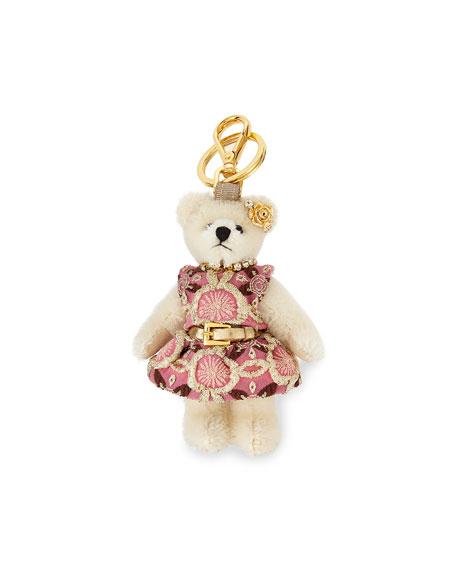 Prada Brigitte Bear Keychain, White/Pink (Bianco)