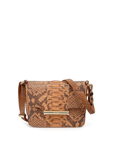 Diane Small Flap Python Crossbody Bag, Natural