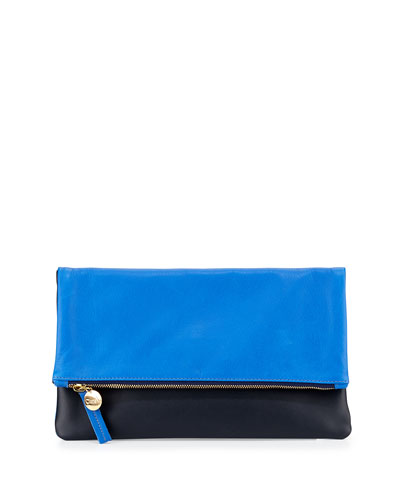 Fold-Over Leather Clutch Bag, Cobalt/Black