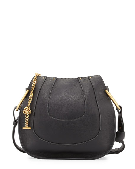 Hayley Small Leather Hobo Bag, Black