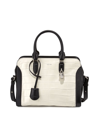 Small Croc-Embossed Satchel Bag, White/Black