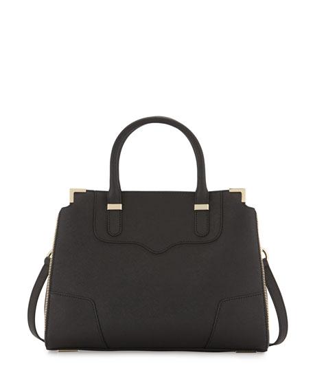 Rebecca Minkoff Amourous Saffiano Satchel Bag, Black