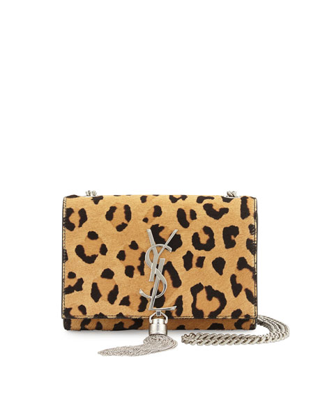 Saint Laurent Monogram Small Leopard-Print Calf Hair Crossbody Bag, Beige/Black