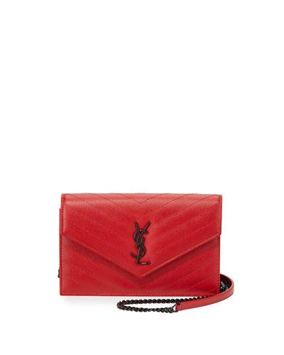 Monogram Medium Matelasse Crossbody Bag, Red