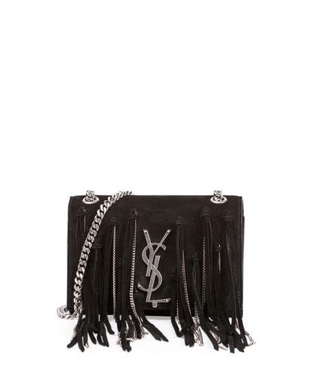 Saint Laurent Monogram Small Suede Shoulder Bag w/Chain Fringe, Black