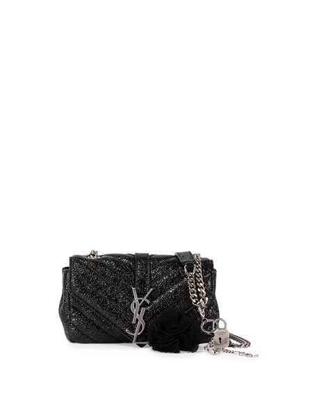 Saint Laurent Monogram College Small Crinkle Patent Punk