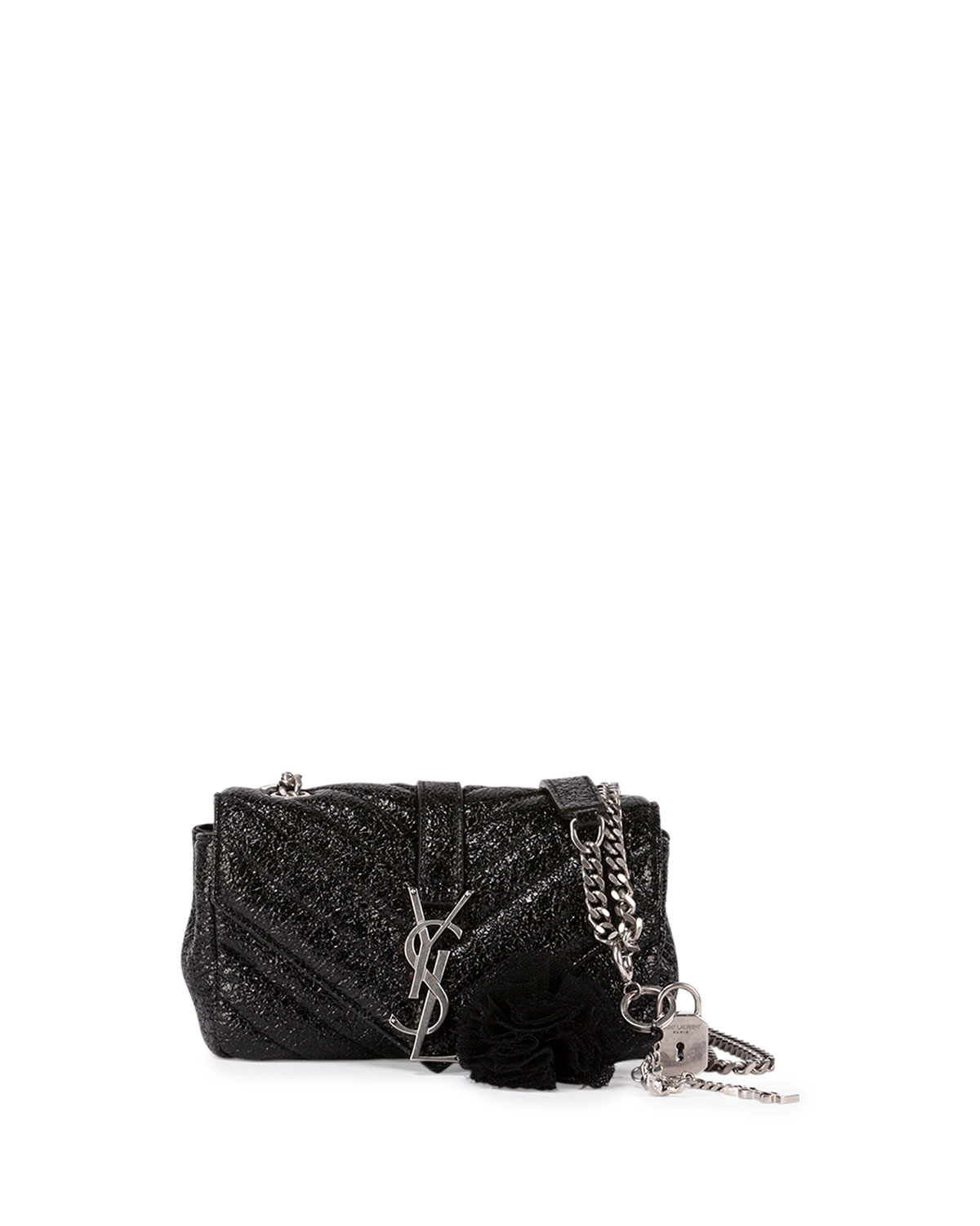 634623a61d Saint LaurentMonogram College Small Crinkle Patent Punk Chains Crossbody
