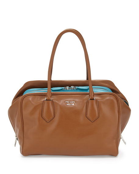 Prada Large Soft Calf Inside Bag, Tan/Turquoise (Cannella+Turchese)