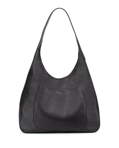 Vitello Daino Medium Pocket Hobo Bag, Black (Nero)