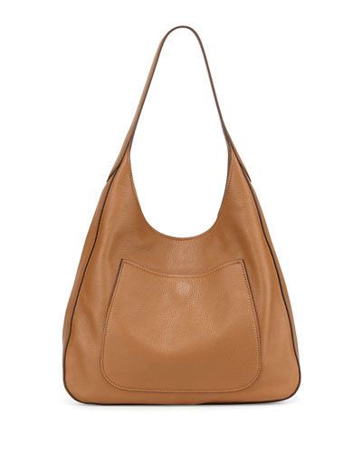 Vitello Daino Medium Pocket Hobo Bag, Tan (Cannella)