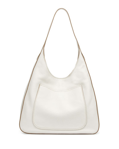 Vitello Daino Medium Pocket Hobo Bag, White (Talco)