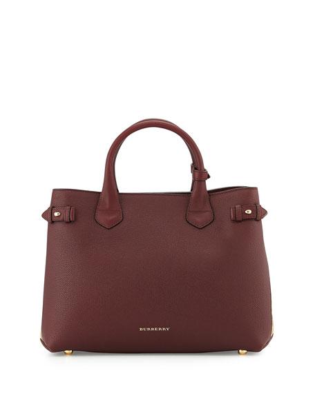 Burberry Horseshoe Leather House Check Shoulder Bag, Mahogany