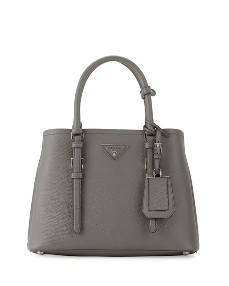 Prada Small East-West Tote Bag, Gray (Marmo)