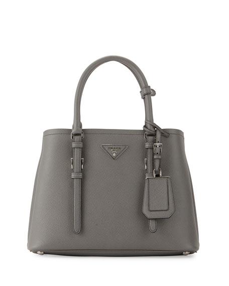 Prada Small East-West Tote Bag, Gray (Marmo)