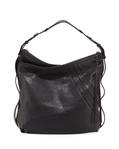 Aster Leather Hobo Bag, Black