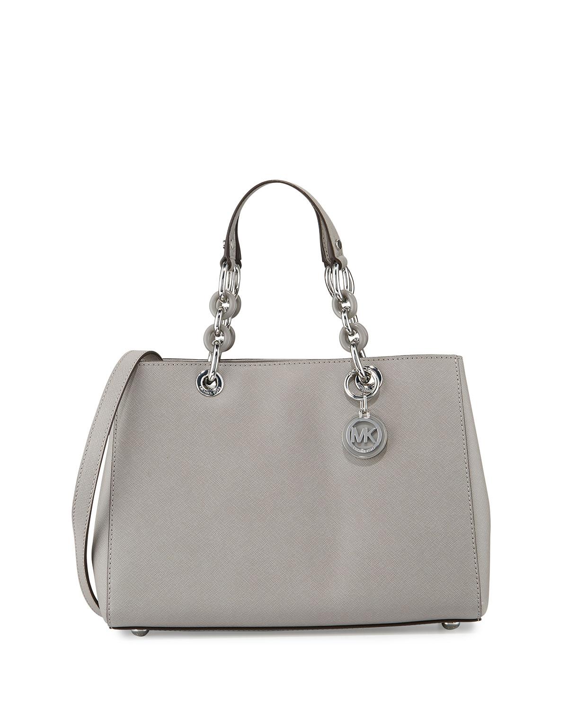 Cynthia Medium Saffiano Satchel Bag Pearl Gray