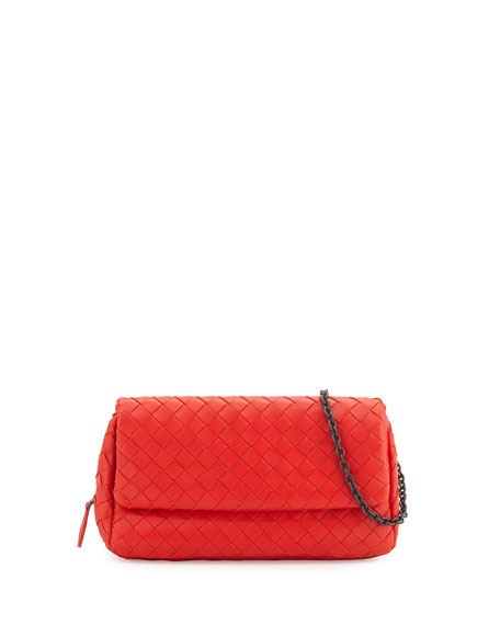 Bottega Veneta Intrecciato Mini Chain Crossbody Bag, Red