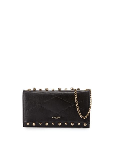 Lanvin Sugar Small Pearls Wallet-on-Chain, Black