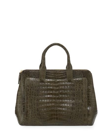 Nancy Gonzalez Large Modern Double-Zip Crocodile Tote Bag, Green Matte