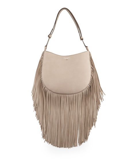 Tory Burch Leather Fringe Hobo Bag, French Gray