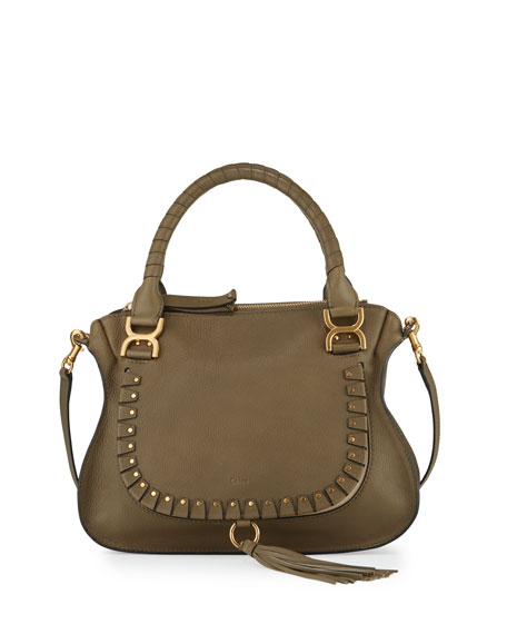 Chloe Marcie Medium Studded Satchel Bag, Gray