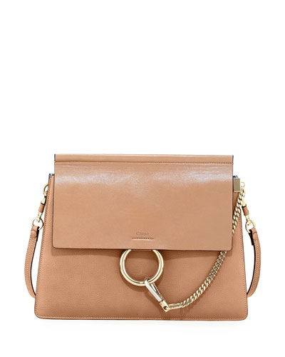 Faye Medium Leather Shoulder Bag, Tan