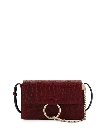 ChloeFaye Small Crocodile-Stamped Shoulder Bag, Dark Red