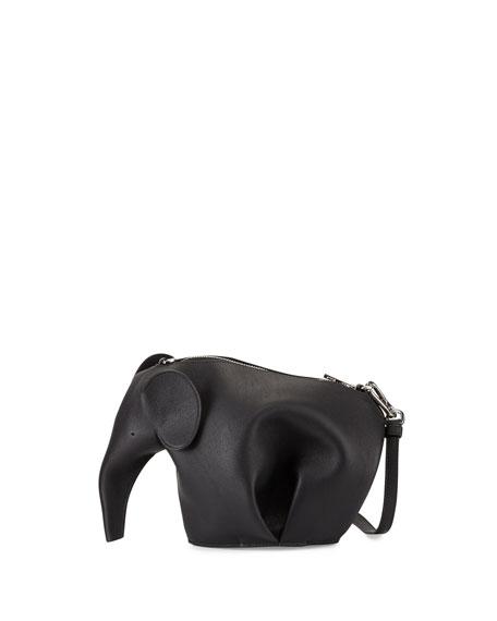 Loewe Leather Elephant Mini Bag, Black
