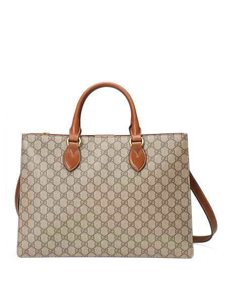 Gucci GG Supreme Large Gusset Tote Bag, Brown