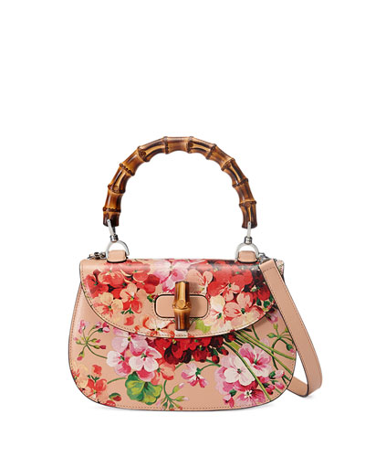 Bamboo Classic Blooms Small Top-Handle Bag, Nude