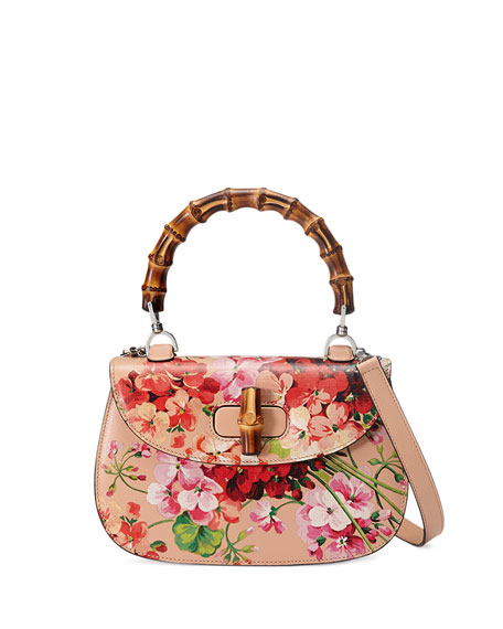 Gucci Bamboo Classic Blooms Small Top-Handle Bag, Nude