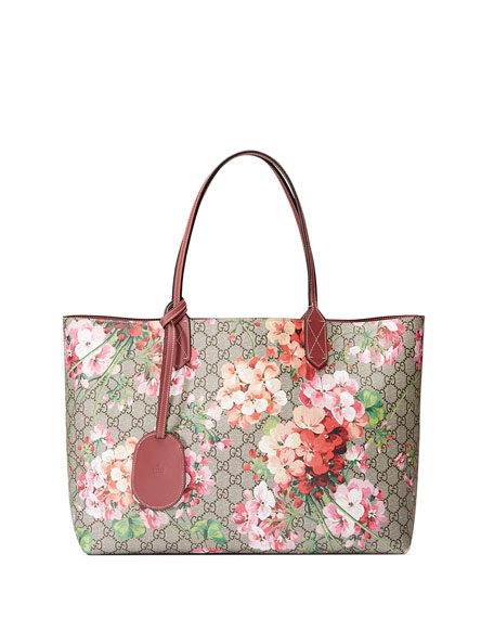GG Blooms Medium Reversible Leather Tote Bag, Multicolor/Rose