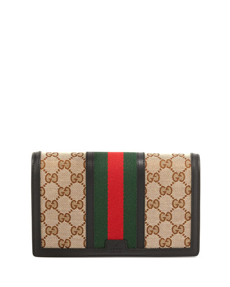 GucciVintage Web GG Canvas Wallet w/ Strap, Brown/Black