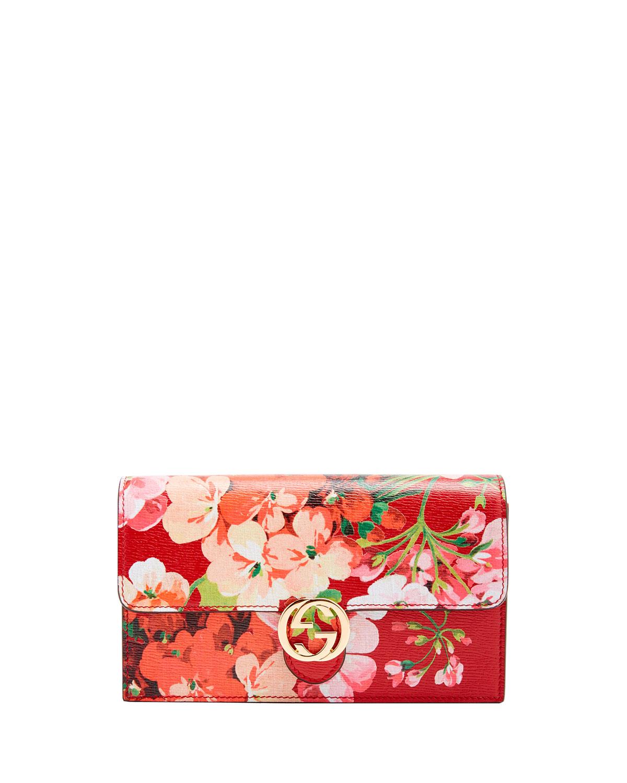 b1b4cd1e56de17 Gucci Gucci Icon Blooms Wallet on Chain, Red   Neiman Marcus