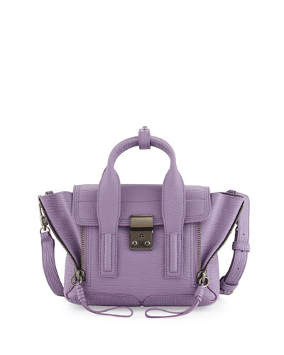Pashli Mini Leather Satchel Bag, Violet