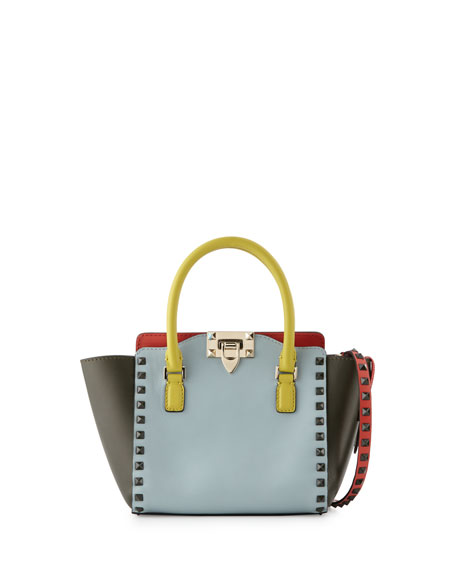 Valentino Rockstud Four-Color Micro Mini Shopper Bag, Blue/Yellow/Orange/Green