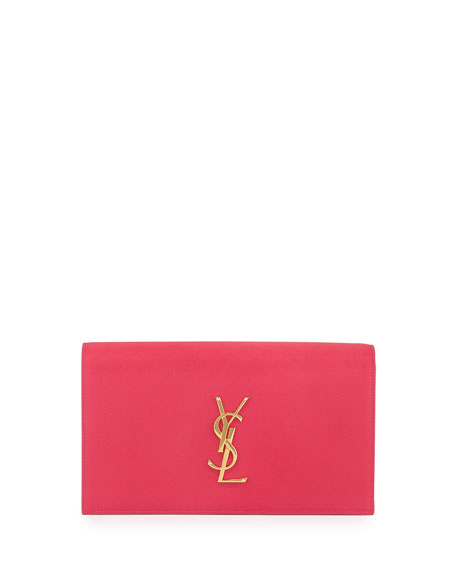 Monogram Grain Calfskin Clutch Bag, Fuchsia