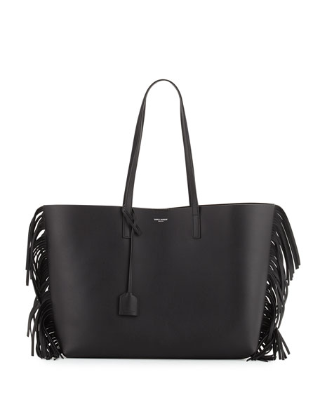 Saint Laurent Large Calfskin Fringe Shopping Tote Bag,