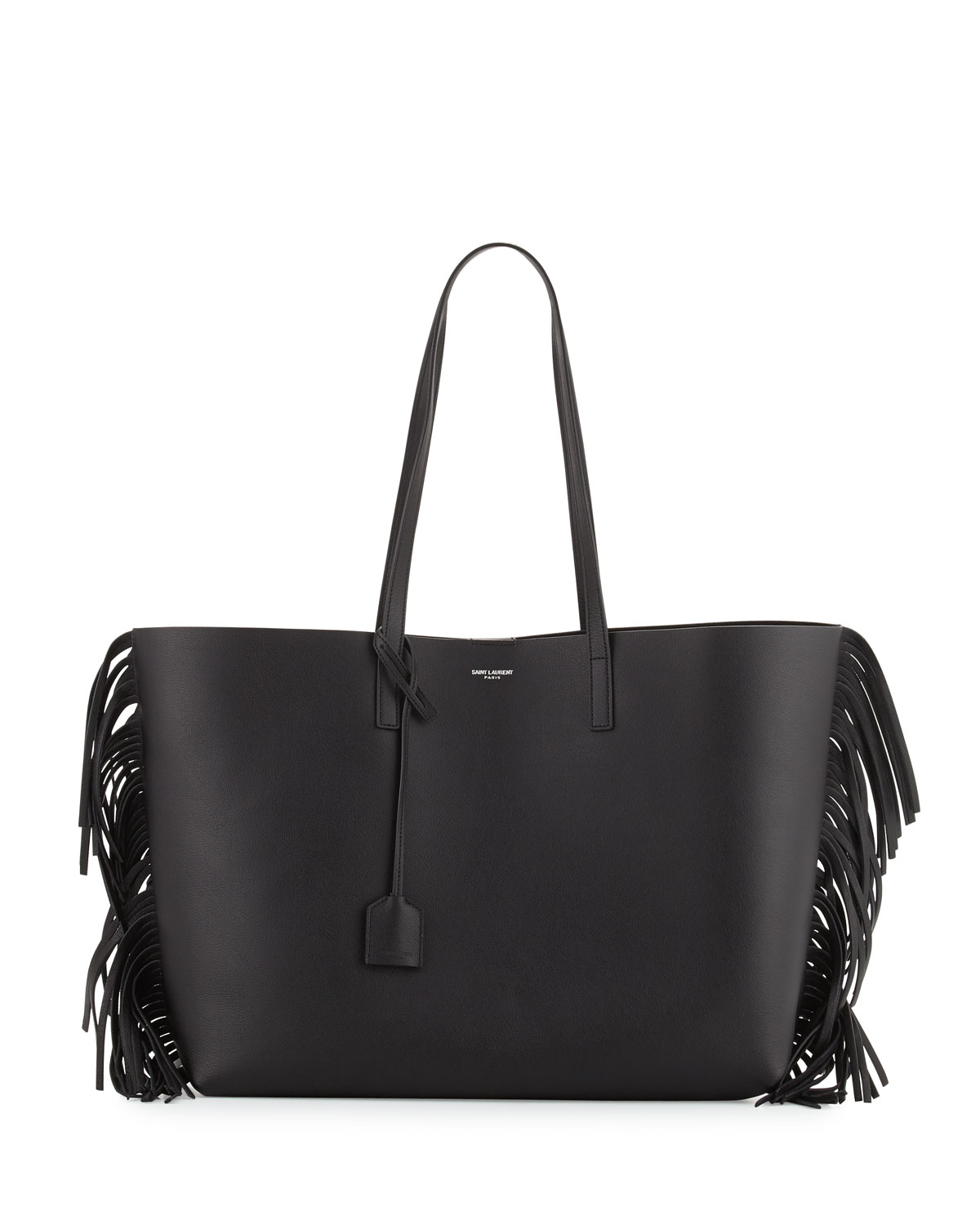 Large Calfskin Fringe Ping Tote Bag Black