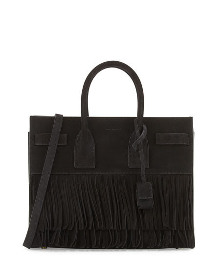 Saint Laurent Sac de Jour Small Suede Fringe Satchel Bag, Black