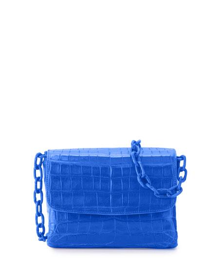 Nancy Gonzalez Crocodile Triple-Gusset Mini Crossbody Bag, Blue