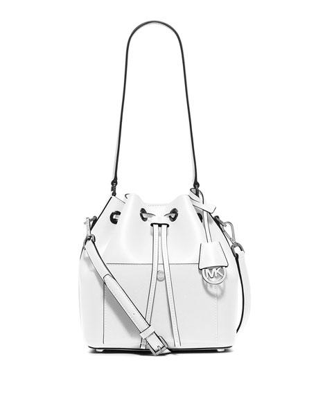 Greenwich Medium Bucket Bag, Optic White/Navy
