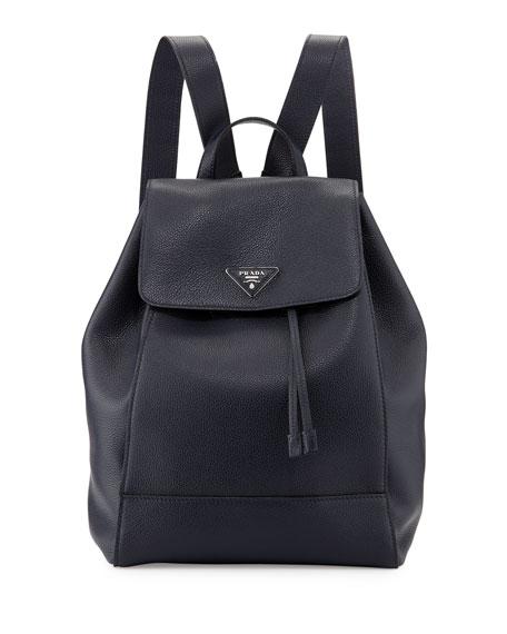 prada suppliers - Prada Vitello Daino Backpack, Dark Blue (Baltico)