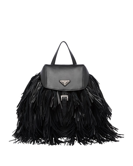 Prada Soft Calfskin and Tessuto Fringe Backpack, Black