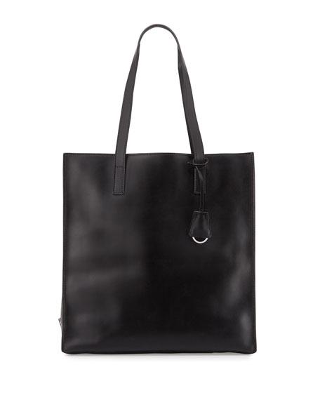 Prada Soft Calfskin North-South Tote Bag, Black/Light Blue