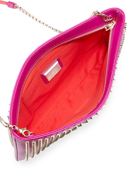 Loubiposh Spiked Clutch Bag, Fuchsia